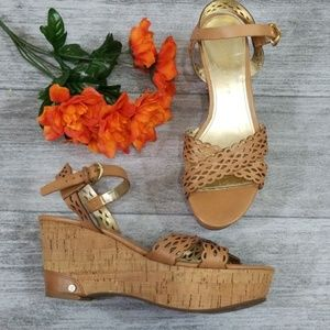Ivanka Trump tan Aubrie leather wedge sandal